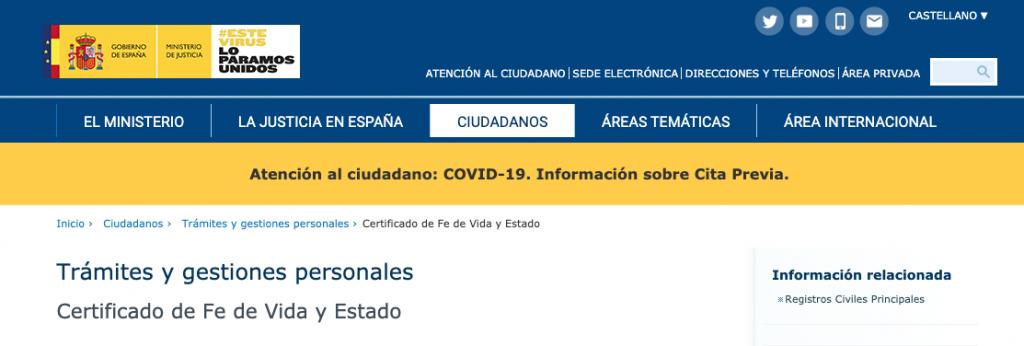 Sede electrónica del ministerio de Justicia Certificado Fe de Vida