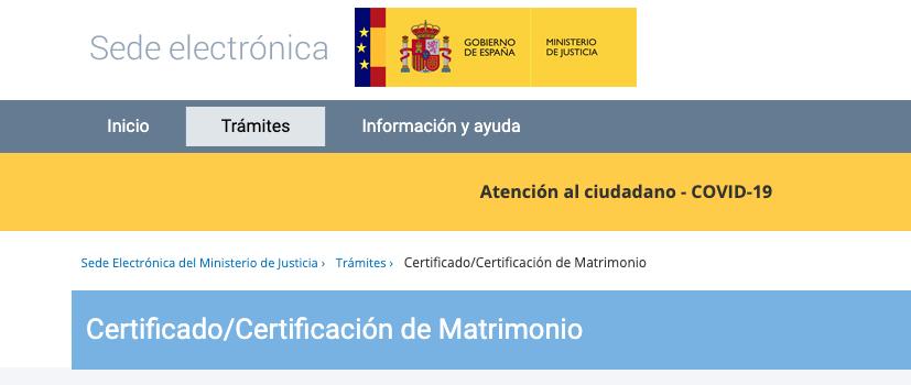Sede electrónica del ministerio de Justicia Certificado de Matrimonio